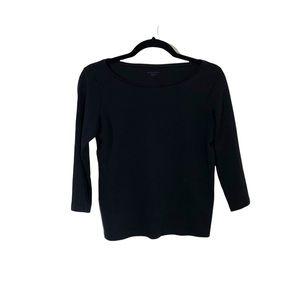 EILEEN FISHER Black Boatneck 3/4 Sleeve Cotton Top